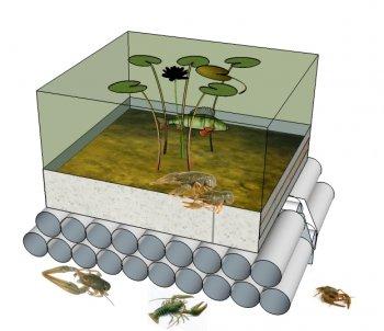Житло (ферма) для раків в штучну водойму